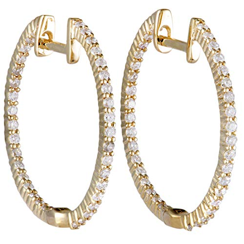 - .55ct 14K Yellow Gold Full Diamond Pave Inside Out Hoop Earrings