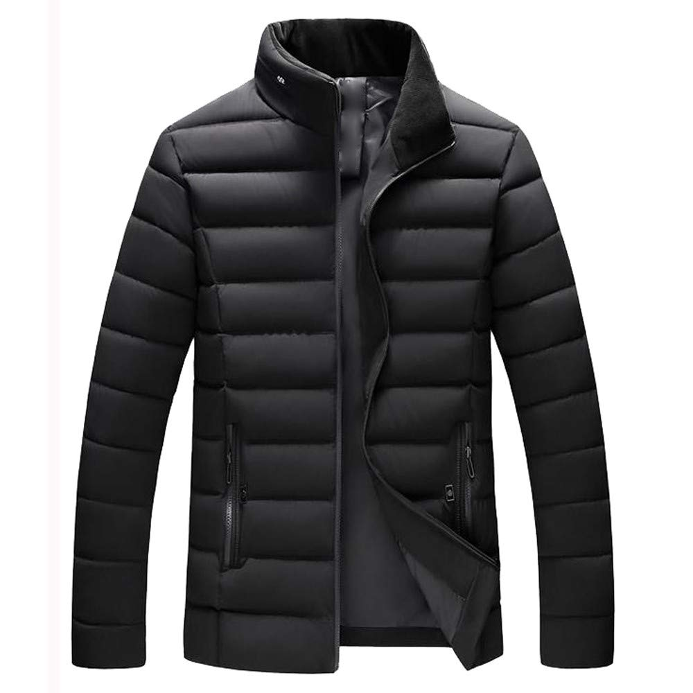 Funnygals - Men's Lightweight Puffer Down Jacket Stand Collar Packable Padded Jackets Outwear Coat with Zip Pockets Size Black by Funnygals - Clothing