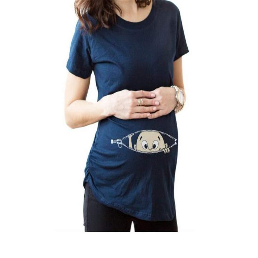 Cadeau de mode spé cial T-shirt grand format pour femme enceinte (Couleur : Dark Blue, Taille : 100cm) Weekendy