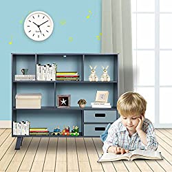 "LUCKUP Kids Furniture Children Wood 3-Tier Tall Sturdy and Adorable Shelf Storage Bookcase with Drawer, Non-Toxic Paint,41.5"" L X 37.8"" H X 11.8"" W,Deep Blue"