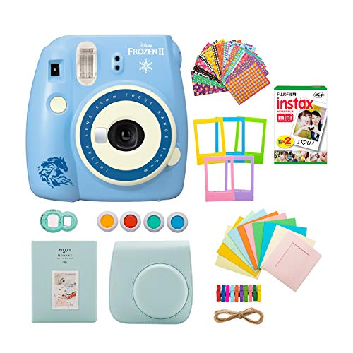 Fujifilm Frozen 2 Instax Mini 9 Instant Disney Camera with Instant Film & 7-1 Accessory Gift Bundle