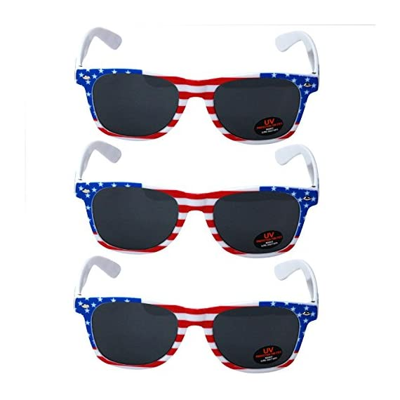 USA Merchant | Sunglasses for Men, Women & Kids by Ray Solée- 3 Pack of Tinted Lenses with UVA & UVB Protection 2 3 PIECE PACK - This bulk pack of inexpensive shades comes with 3 American flag themed glasses great for summer time and parties all year round. UVA&UVB - Ray Solée glasses are ultraviolet tinted with anti-reflective UV 400 protection from the sun. MONEY BACK GUARANTEE- We are so sure that you will love our product that it comes with a 30 day Risk-Free 100% money-back-guarantee. If you are not fully satisfied with our product, let us know and receive a full refund.