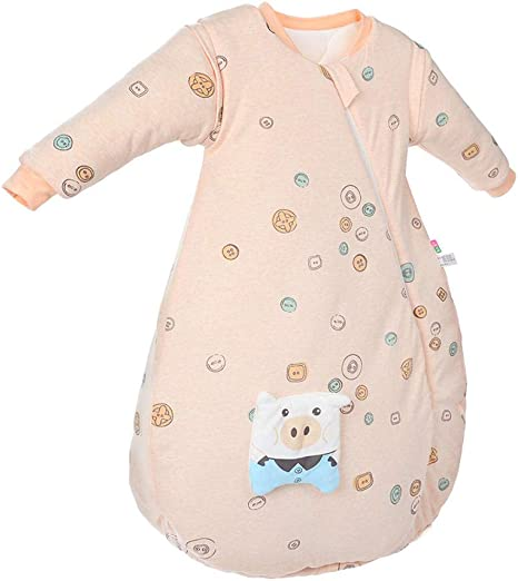 Traje de escalada para recién nacidos Saco de dormir para bebés 0-1 Algodón orgánico Cocoon Siamés Siamés Manga larga Piel desmontable Transpiración transpirable Anti-Sketch Pijamas para niños Unisex: Amazon.es: Bebé