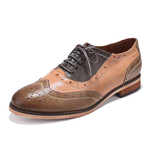 Mona Flying Dames Lederen Geperforeerde Veter Oxfords Schoenen Voor Dames Wingtip Multicolor Brougue Schoenen Bruin-grijs