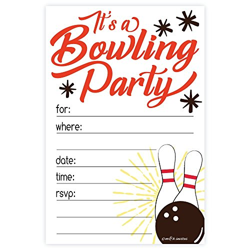 Bowling Party Invitations (20 Count) With Envelopes by m&h invites