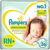 Fraldas Pampers Premium Care Recém-Nascido Jumbo, RN+ 36 Unidades