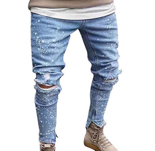 Déchirés Fit Pants Slim Nostalgic Denim Hommes Bleu Pour Worclub Stretch Clair Jeans 6x5qyZTZw7