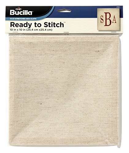 Bucilla Ready To Stitch Blank Aida Cloth, 10 by 10-Inch, 47684 Natural
