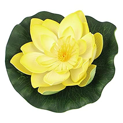 Espuma artificial flotante de la flor de loto peces de acuario tanque de decoración amarillo
