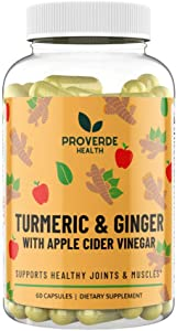 Proverde Health Turmeric & Ginger with Apple Cider Vinegar Pills   Vegan and Non-GMO Capsules   Metabolism Boosting Dietary Supplement   Made in The USA