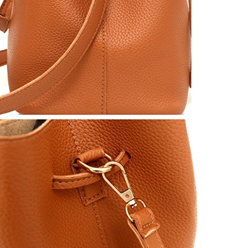 Solid Leather Color Bag Phone Bag Package Ladies Brown Crossbody Handbag Card 4Pcs Muium Women TXwZ4tq