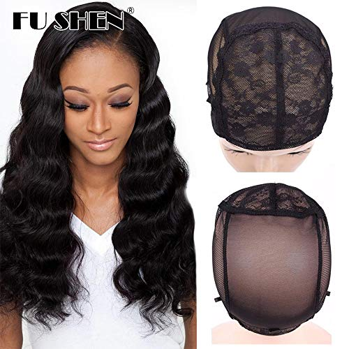FU SHEN Large Wig Cap, Black Double Lace Wig Caps for Making Wigs with Adjustable Straps and Combs, Glueless Wig Cap for Big Head for Women(Black, 2 Pcs L)