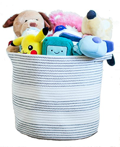 Cotton Rope Basket with Handles for Baby Nursery and Kid's Toy Storage, Laundry Hamper, Bathroom Storage and Closet Organizer 15