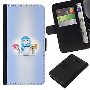 KLONGSHOP // Tirón de la caja Cartera de cuero con ranuras para tarjetas - Invierno Niños Pequeños Vacaciones - Sony Xperia M2 //