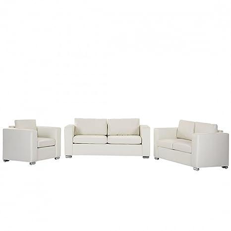 Conjunto de sofás en Piel para 6 Personas Beige Helsinki ...