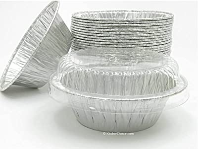 "Disposable Aluminum 4"" Deep Mini Pie/ Tart Pan with Clear Dome Lids"