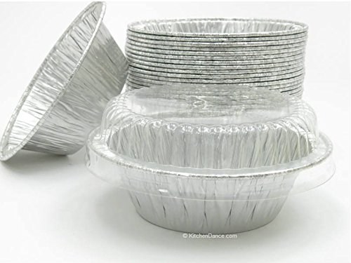 Disposable Aluminum 4'' Deep Mini Pie/Tart Pan with Clear Dome Lids 1152P (50) by AGIANT
