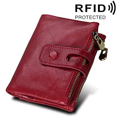 Cowhide Leather Crazy Horse Texture Zipper 3-Folding Card Holder Wallet RFID Blocking Coin Purse Card Bag Predect Case for Men, Size  12  9.5  3.5cm (color   Red)