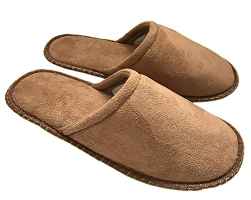 Men's Cotton Slippers Cute Soft Sole Indoor Bedroom Washable Home Shoes by Elaiya Brown S4dFZBt6DX