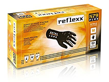 Reflexx N79p/S Extra long, 30 cm, sans poudre Gants en nitrile gr 7.7. Taille petite, Noir (Lot de 50) 30cm Reflexx spa