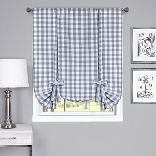 Tie Up Shade (Buffalo Check Plaid Gingham Custom Fit Window Curtain Treatments By GoodGram - Assorted Colors, Styles & Sizes (Tie Up Shade, Grey))