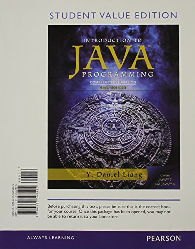 Intro to Java Programming, Comprehensive Version, Student Value Edition (10th Edition) by Pearson