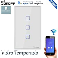 Interruptor Wifi Sonoff TX0 3 canais touch automação Smart branco TX-T0US3C, Funciona com Alexa