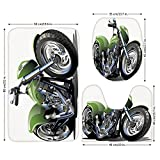 3 Piece Bathroom Mat Set,Motorcycle,Motorcycle Design with Fancy Supreme Gears and Metal Tires Action Urban Life,Green Silver,Bath Mat,Bathroom Carpet Rug,Non-Slip