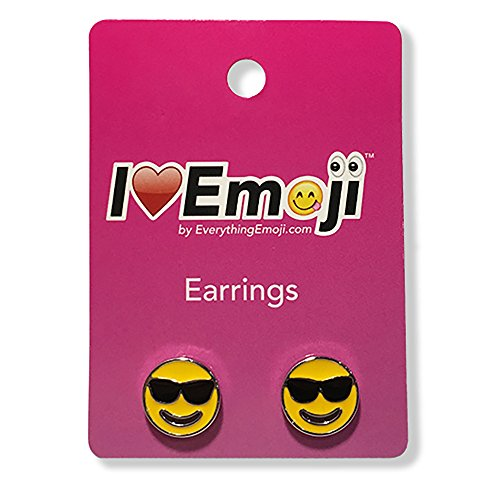 Everything Emoji | Sunglass Face Silver Stud Earrings | Cute Emoticon Jewelry | Gifts & Accessories