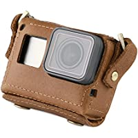 TELESIN Handmade Leather Case for GoPro Hero 5 Black Protective Bag Neck Strap Belt with Lens Cap