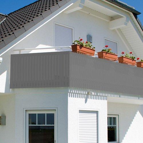 Balkonsichtschutz - Sichtschutz - Windschutz 600x75cm mit Farbauswahl (grau)