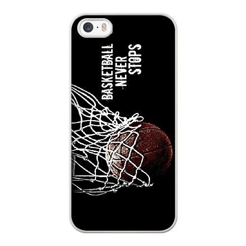 Coque,Coque iphone 5 5S SE Case Coque, Basketball Never Stop Cover For Coque iphone 5 5S SE Cell Phone Case Cover blanc