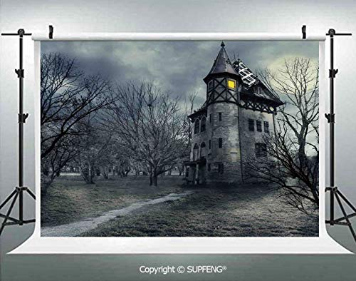 Photography Backdrops Halloween Design with Gothic Haunted House Dark Sky and Leafless Trees Spooky Theme Decorative 3D Backdrops for Photography Backdrop Photo Background Studio Prop -