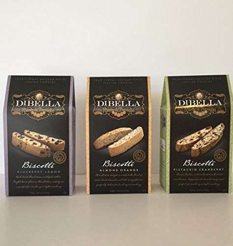 - DiBella Gourmet Traditional Artisan Style Italian Biscotti Cookies Variety Bundle: 1-Blueberry Lemon, 1-Pistachio Cranberry 1- Almond Orange + a Bonus Free Sweet Coffee Recipe by Zee Organic (3Items)