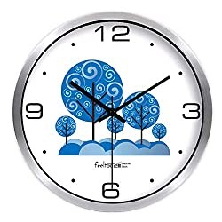 Children's Room Clock Children's Bedroom Wall Clock Wall Hanging Table Mute Silent Sound Wall Clock Kids Room 14 inches Metal Silver Frame