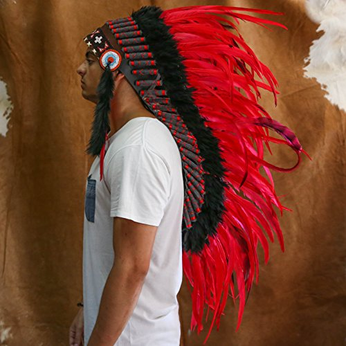 Novum Crafts Feather Headdress | Native American Indian Inspired | Red by Novum Crafts (Image #3)