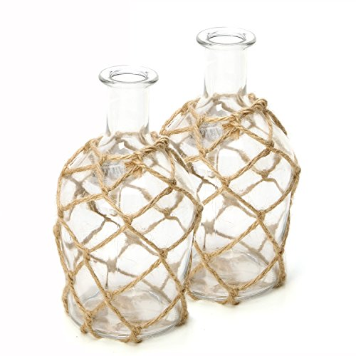 Hosley Set of 2 Glass Floral Rose Vases, Rope Wrapped, Coastal Style. Ideal Gift for Floral Arrangements Spa, Aromatherapy, Nautical Votive Tea Light Candle Garden, Essential Oil Diffuser DWDOO O7 by Hosley (Image #3)