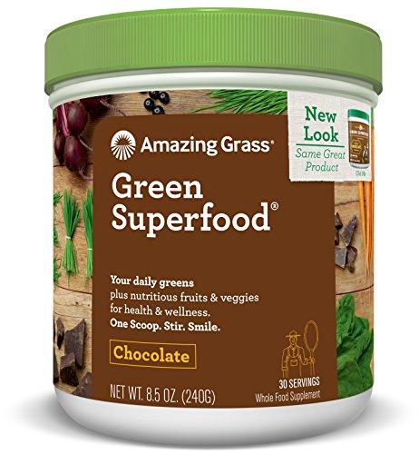 Amazing Grass Green Superfood, Chocolate, Powder, 30 Servings, 8.5oz, Wheat Grass, Spirulina, Alfalfa, Acai, Maca, Flax Seed, Detox, Active Cultures, Vitamin K, Greens, Probiotic