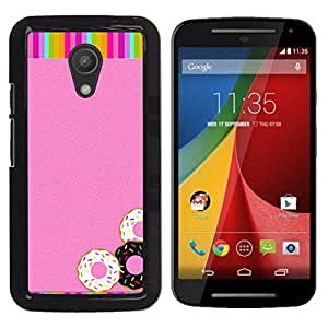 TaiTech/Duro Carcasa Funda–Doughnuts Rainbow Pink Glitter Sweets–Motorola Moto G 2ND GEN II