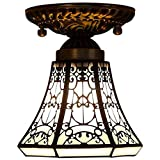 Tiffany Style Ceiling Lamp, European Minimalist Stained Glass Ceiling Lights, Retro Creative Aisle Bay Window Balcony Porch Pendant Lamp