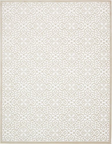 Unique Loom Rushmore Collection Traditional White Tone-on-Tone Snow White Area Rug (10' 0 x 13' 0) (Rushmore 10)