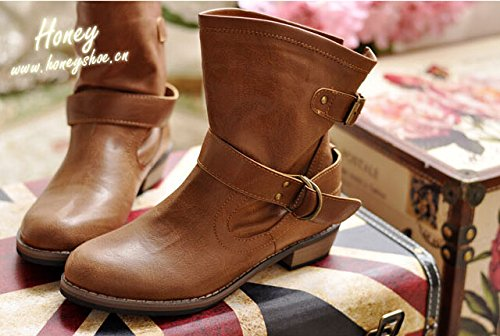 motorcycle Brown England autumn Martin boots boots boots winter flat and zS0Sq