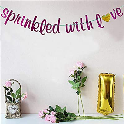 Sprinkled with Love Bunting Banner for Baby Shower, Wedding, Birthday Party Decorations, Pink Glitter: Toys & Games