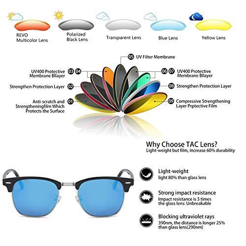 Soleil Polarisées Colorés Lunettes Protection 400 Bleu Verres de Demi Cerclées Léger UV Décor wYZwq5nxI6
