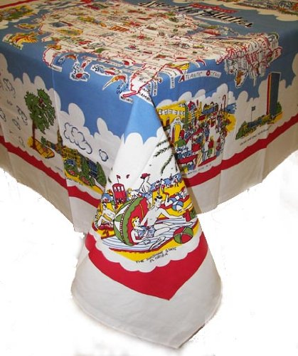 (Moda Home American Wonderland Cotton Tablecloth USA Map Staycation)