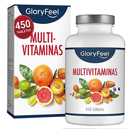 🥇 Multivitaminas y Minerales – 450 Comprimidos Multivitamínicos veganos – Todas las vitaminas y minerales de la a-z – Para el sistema inmunológico – Para más de 1 año – Para Hombres y Mujeres