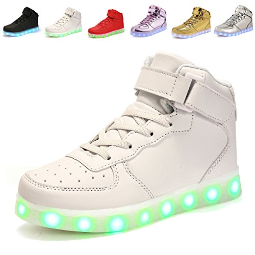 APTESOL Kids Adult LED Light Up Shoes USB Charging Flashing High-top Sneakers for Boys Girls Youth Christmas (White,41) (Adult High Top Sneakers)
