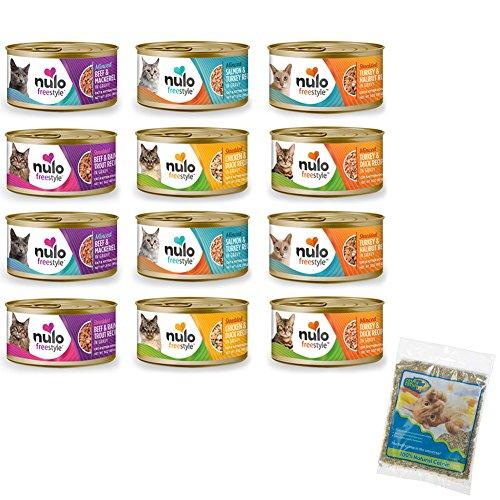 Nulo FreeStyle Grain Free Wet Cat Food Variety Pack and Catnip - 3 Oz. - Turkey & Duck, Beef & Mackerel, Salmon & Turkey, Beef & Rainbow Trout, Chicken & Duck, and Turkey & Halibut (12 Cans Total)