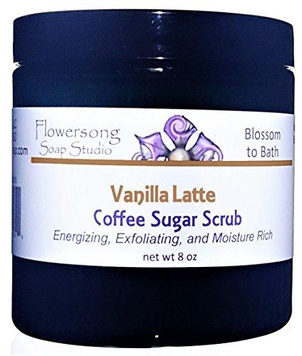 Flowersong Vanilla Latte Coffee Sugar Scrub - Energizing, Exfoliating, and Moisture Rich -