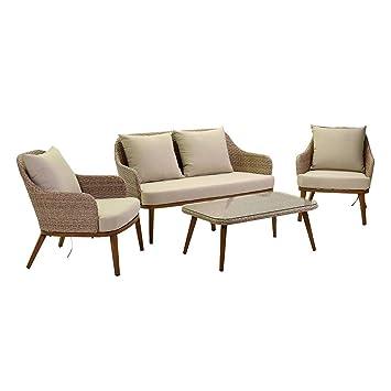 adami Juego de jardín sofá 2 sillones y Mesa de ratán ...